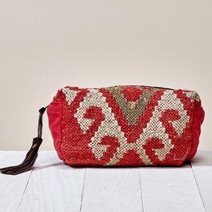 Red AZTEC ORIGAMI CARPET MAKEUP BAG